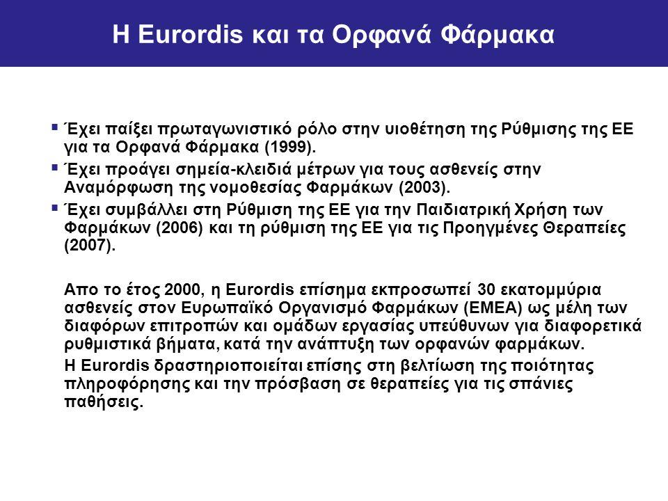 Η Eurordis και τα Ορφανά Φάρμακα  Έχει παίξει πρωταγωνιστικό ρόλο στην υιοθέτηση της Ρύθμισης της ΕΕ για τα Ορφανά Φάρμακα (1999).  Έχει προάγει σημ