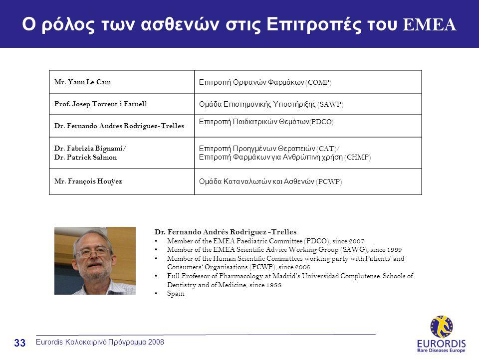 33 Ο ρόλος των ασθενών στις Επιτροπές του EMEA Eurordis Καλοκαιρινό Πρόγραμμα 2008 Mr. Yann Le Cam Επιτροπή Ορφανών Φαρμάκων (COMP) Prof. Josep Torren