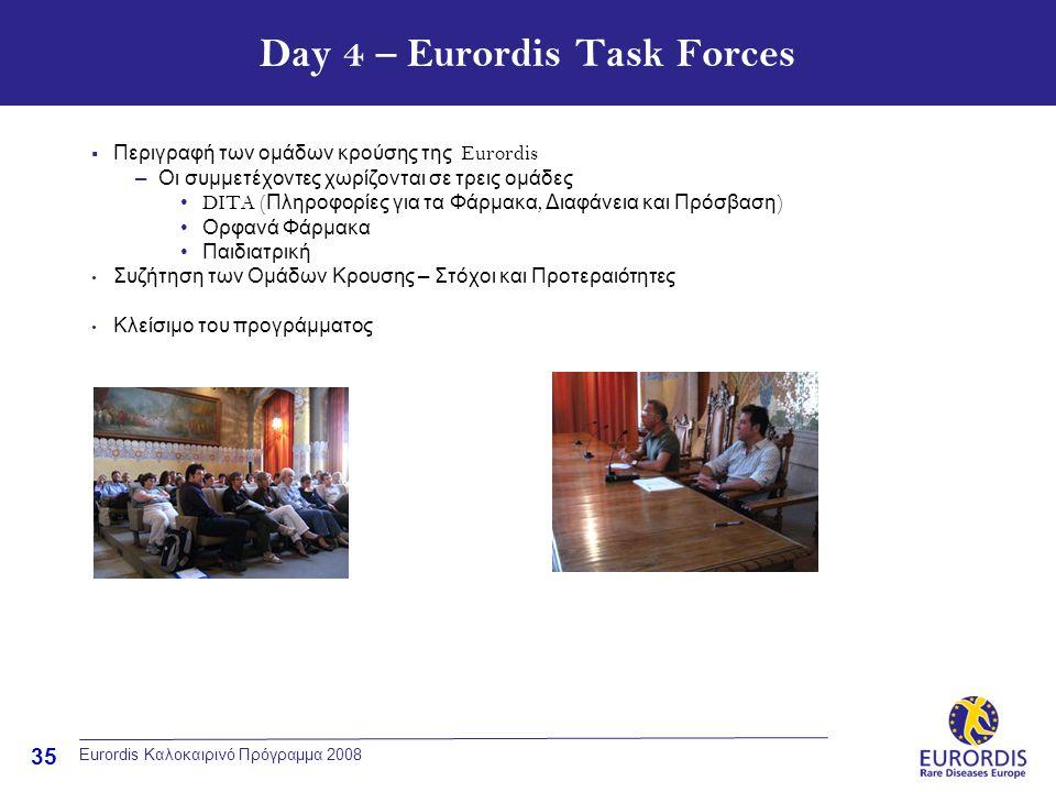 35 Eurordis Καλοκαιρινό Πρόγραμμα 2008 Day 4 – Eurordis Task Forces  Περιγραφή των ομάδων κρούσης της Eurordis –Οι συμμετέχοντες χωρίζονται σε τρεις