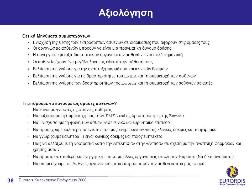 36 Αξιολόγηση Eurordis Καλοκαιρινό Πρόγραμμα 2008 Θετικά Μηνύματα συμμετεχόντων  Ενίσχυση της θέσης των εκπροσώπων ασθενών σε διαδικασίες που αφορούν