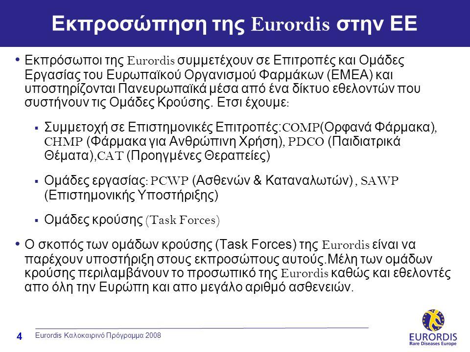 4 Eurordis Καλοκαιρινό Πρόγραμμα 2008 Εκπροσώπηση της Eurordis στην ΕΕ • Εκπρόσωποι της Eurordis συμμετέχουν σε Επιτροπές και Ομάδες Εργασίας του Ευρω