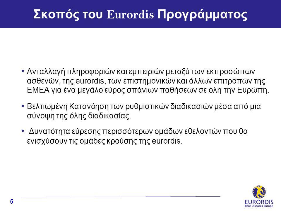5 Σκοπός του Eurordis Προγράμματος • Aνταλλαγή πληροφοριών και εμπειριών μεταξύ των εκπροσώπων ασθενών, της eurordis, των επιστημονικών και άλλων επιτροπών της EMEA για ένα μεγάλο εύρος σπάνιων παθήσεων σε όλη την Ευρώπη.