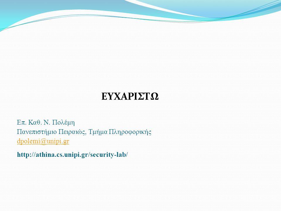 ΕΥΧΑΡΙΣΤΩ Επ. Καθ. Ν. Πολέμη Πανεπιστήμιο Πειραιώς, Τμήμα Πληροφορικής dpolemi@unipi.gr http://athina.cs.unipi.gr/security-lab/