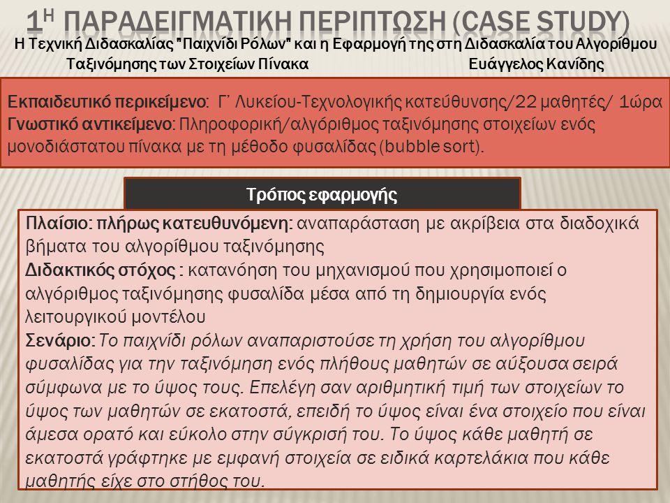 Εκπαιδευτικό περικείμενο: Γ' Λυκείου-Τεχνολογικής κατεύθυνσης/22 μαθητές/ 1ώρα Γνωστικό αντικείμενο: Πληροφορική/αλγόριθμος ταξινόμησης στοιχείων ενός