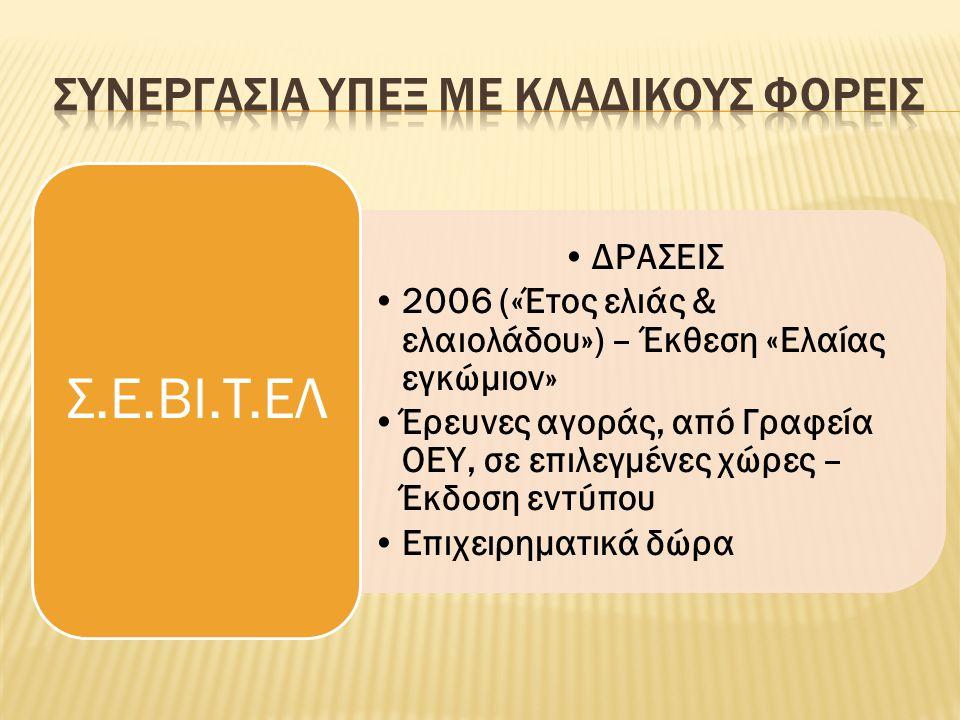 •ΔΡΑΣΕΙΣ •2006 («Έτος ελιάς & ελαιολάδου») – Έκθεση «Ελαίας εγκώμιον» •Έρευνες αγοράς, από Γραφεία ΟΕΥ, σε επιλεγμένες χώρες – Έκδοση εντύπου •Επιχειρηματικά δώρα Σ.E.BI.T.EΛ