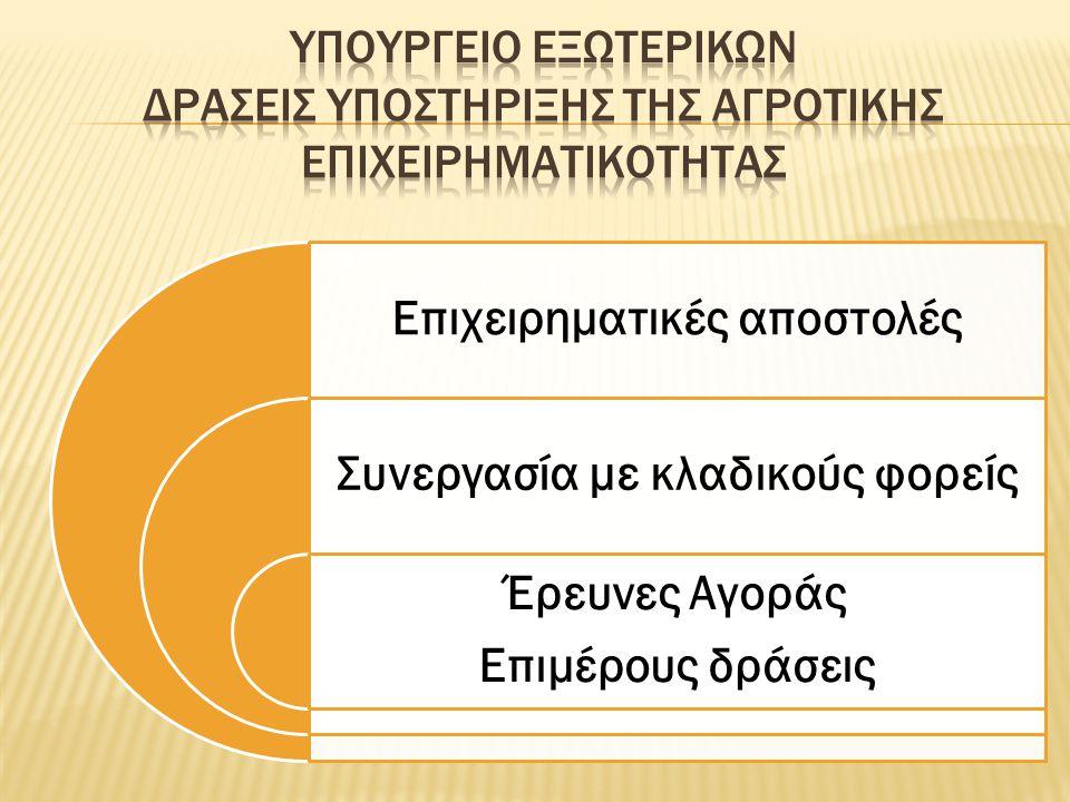 Επιχειρηματικές αποστολές Συνεργασία με κλαδικούς φορείς Έρευνες Αγοράς Επιμέρους δράσεις