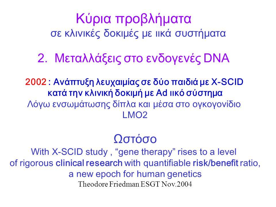 Κύρια προβλήματα σε κλινικές δοκιμές με ιικά συστήματα 2.