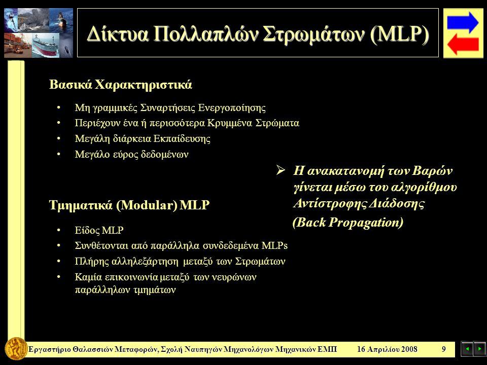 Βασικά Χαρακτηριστικά Δίκτυα Πολλαπλών Στρωμάτων ( MLP) ΕργαστήριοΘαλασσιών Μεταφορών, Σχολή Ναυπηγών Μηχανολόγων Μηχανικών ΕΜΠ 16 Απριλίου 2008 9 Εργ