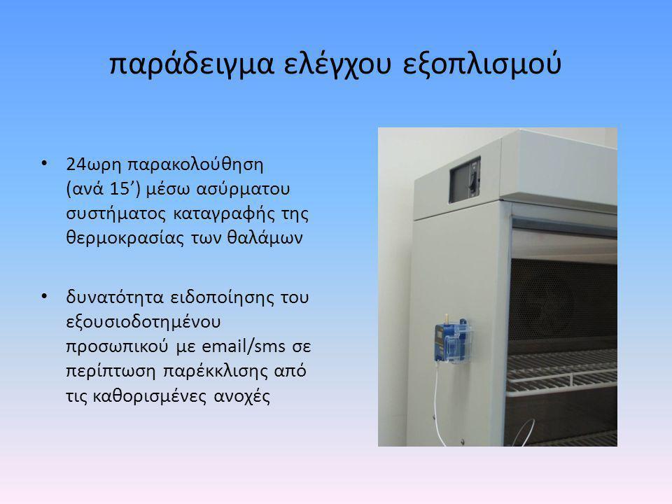 παράδειγμα ελέγχου εξοπλισμού • 24ωρη παρακολούθηση (ανά 15') μέσω ασύρματου συστήματος καταγραφής της θερμοκρασίας των θαλάμων • δυνατότητα ειδοποίησ