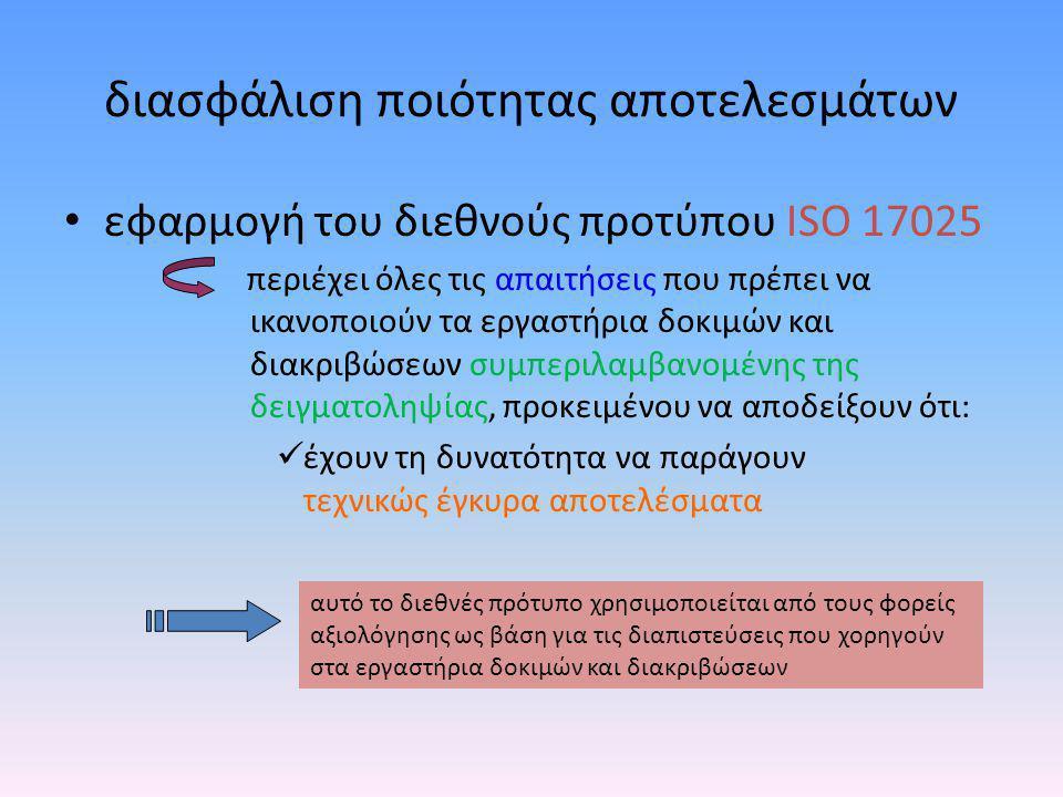 αξιοπιστία υπηρεσιών διακρίβωσης •εργαστήριο διακρίβωσης διαπιστευμένο από το ΕΣΥΔ •αναγνωρισμένο εργαστήριο από αντίστοιχο φορέα του εξωτερικού •Ελληνικό Ινστιτούτο Μετρολογίας (ΕΙΜ) τήρηση εθνικών προτύπων μέτρησης ΕΙΜ Εργαστήρια διακρίβωσης Χρήστες μετρητικών οργάνων αδιάσπαστη αλυσίδα ιχνηλασιμότητας