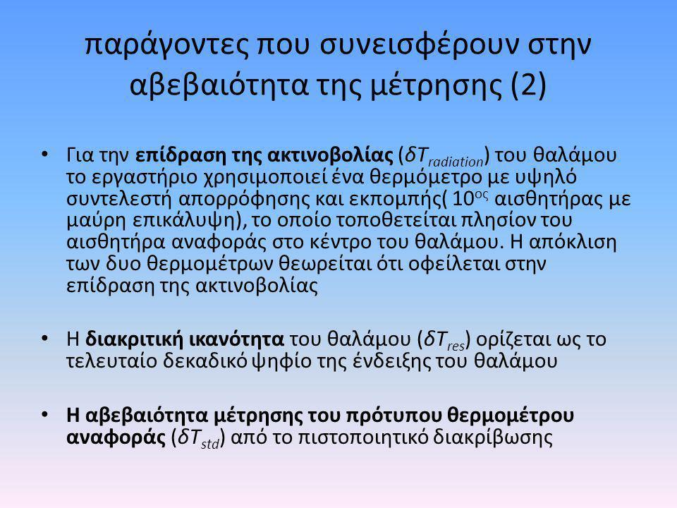 παράγοντες που συνεισφέρουν στην αβεβαιότητα της μέτρησης (2) • Για την επίδραση της ακτινοβολίας (δΤ radiation ) του θαλάμου το εργαστήριο χρησιμοποι