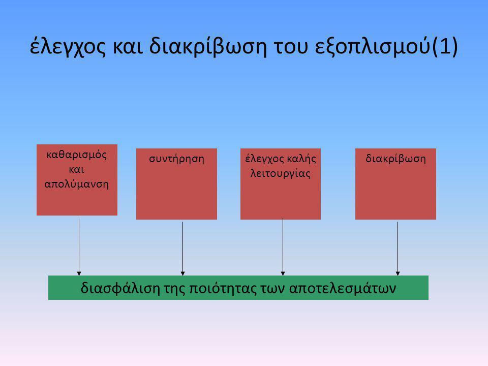 έλεγχος και διακρίβωση του εξοπλισμού (2) • Κάθε πότε; – καθορίζεται από το εργαστήριο, ανάλογα με τον τύπο και τη σταθερότητα του εξοπλισμού, τη συχνότητα χρήσης, τις οδηγίες του κατασκευαστή και τις κατευθυντήριες οδηγίες διεθνώς αναγνωρισμένων οργανισμών (π.χ.