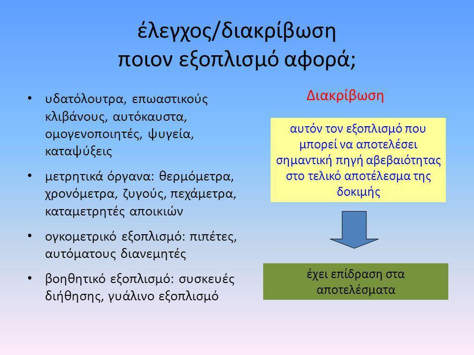 • θαλάμους θερμοκρασίας (επωαστικούς κλιβάνους, ψυγεία, καταψύκτες, ξηρούς & υγρούς κλιβάνους, ψυκτικούς θαλάμους & υδατόλουτρα) • ογκομετρικό εξοπλισμό (πιπέτες σταθερού/μεταβλητού όγκου) • βαρομετρικό εξοπλισμό (αναλυτικοί ζυγοί) • θερμομετρικό εξοπλισμό (π.χ.