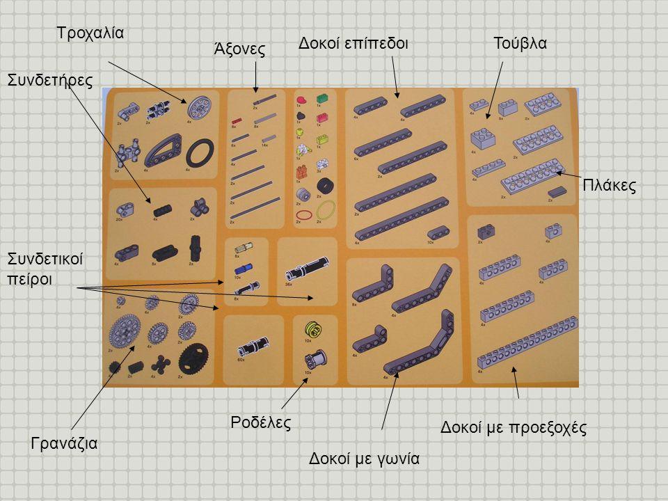 Γρανάζια Πλάκες Τούβλα Δοκοί με προεξοχές Δοκοί με γωνία Δοκοί επίπεδοι Άξονες Ροδέλες Συνδετικοί πείροι Συνδετήρες Τροχαλία