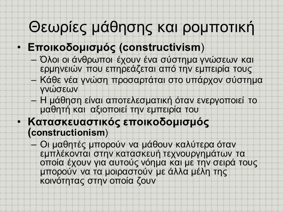 Θεωρίες μάθησης και ρομποτική •Εποικοδομισμός (constructivism) –Όλοι οι άνθρωποι έχουν ένα σύστημα γνώσεων και ερμηνειών που επηρεάζεται από την εμπει