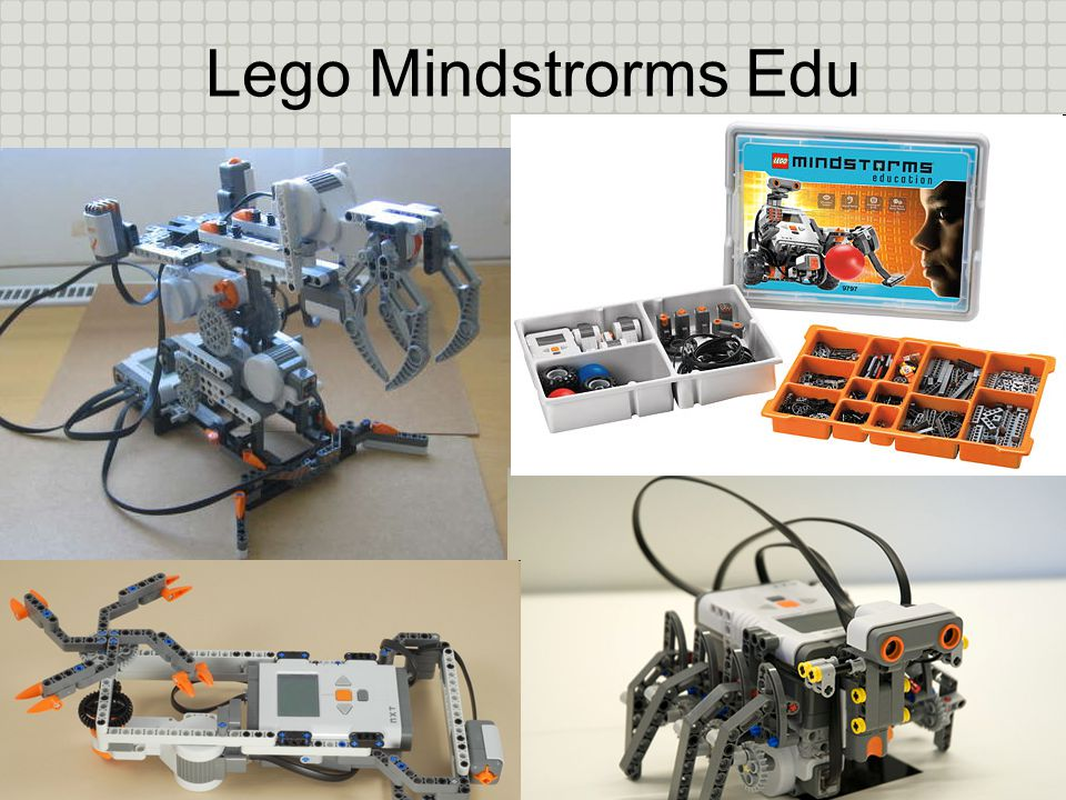 Lego Mindstorms Edu NXT Κατασκευάζονται από δομικά στοιχεία και ηλεκτρονικά εξαρτήματα (κινητήρες, αισθητήρες) Προγραμματίζονται με τη βοήθεια κατάλληλου λογισμικού Συλλέγουν από το περιβάλλον και εκτελούν ενέργειες
