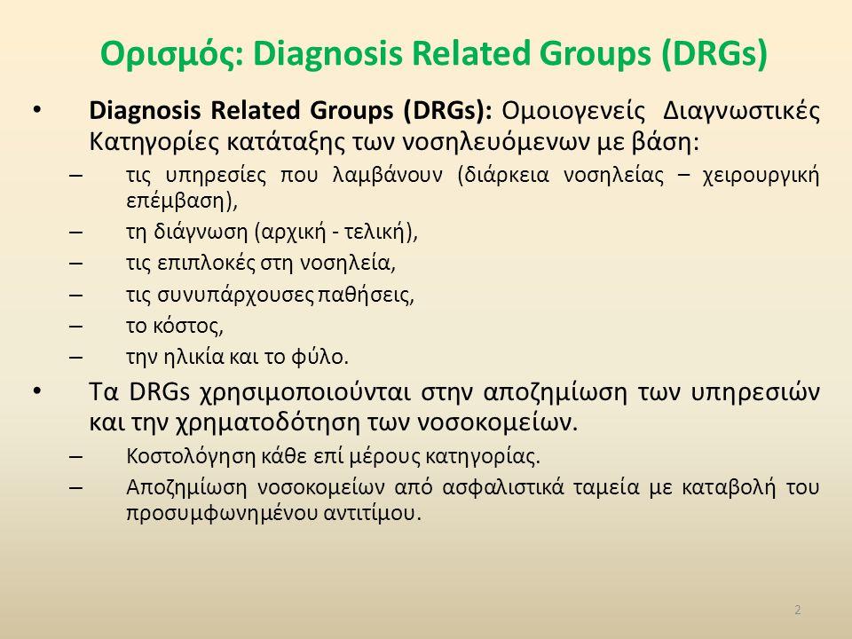 Ορισμός: Diagnosis Related Groups (DRGs) • Diagnosis Related Groups (DRGs): Ομοιογενείς Διαγνωστικές Κατηγορίες κατάταξης των νοσηλευόμενων με βάση: – τις υπηρεσίες που λαμβάνουν (διάρκεια νοσηλείας – χειρουργική επέμβαση), – τη διάγνωση (αρχική - τελική), – τις επιπλοκές στη νοσηλεία, – τις συνυπάρχουσες παθήσεις, – το κόστος, – την ηλικία και το φύλο.