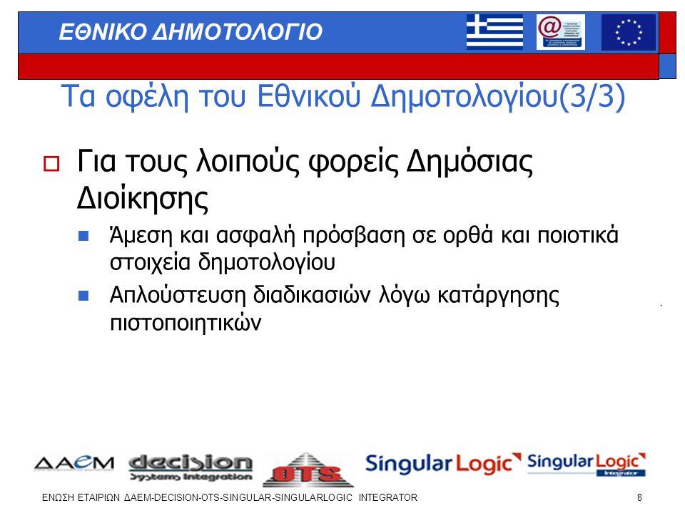 ΕΝΩΣΗ ΕΤΑΙΡΙΩΝ ΔΑΕΜ-DECISION-OTS-SINGULAR-SINGULARLOGIC INTEGRATOR 19 ΕΘΝΙΚΟ ΔΗΜΟΤΟΛΟΓΙΟ  Συμμετοχή στα σεμινάρια και παραλαβή του CD (νέα έκδοση)  Διαδικασία που θα ακολουθήσουν οι ΟΤΑ για την υλοποίηση του  ΕΘΝΙΚΟΥ ΔΗΜΟΤΟΛΟΓΙΟΥ  Λήψη 2 αντιγράφων ασφαλείας της υφιστάμενης βάσης  Εγκατάσταση της νέας έκδοσης της εφαρμογής σύμφωνα με το εγχειρίδιο  Εκτέλεση των αυτόματων διορθώσεων που επιτρέπει η εφαρμογή  Έκδοση αναφοράς λαθών και αποστολή στο ΤΕΔ/ΥΠΕΣΔΔΑ και την εταιρεία  Έναρξη λειτουργίας της νέας έκδοσης της εφαρμογής και της διαδικασίας διόρθωσης των λαθών  Κλήση από και προς διαθέσιμα Help Desk για υποστήριξη και σε περιπτώσεις προβλημάτων  Αίτημα για επιτόπια υποστήριξη προς το Help Desk του ΤΕΔ/ ΥΠΕΣΔΔΑ  ΔΙΟΡΘΩΣΗ ΛΑΘΩΝ στο χρονικό δάστημα που προβλέπεται ΑΑ ΠΟΣΤΟΛΗ ΔΕΔΟΜΕΝΩΝ στο ΟΠΣΕΔ και ΕΝΤΑΞΗ στο ΕΘΝΙΚΟ ΔΗΜΟΤΟΛΟΓΟ