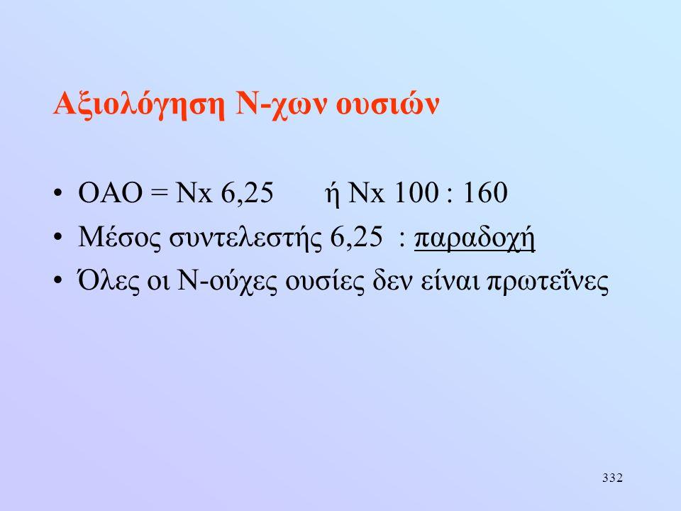 332 Αξιολόγηση Ν-χων ουσιών •ΟΑΟ = Νx 6,25ή Νx 100 : 160 •Μέσος συντελεστής 6,25 : παραδοχή •Όλες οι Ν-ούχες ουσίες δεν είναι πρωτεΐνες