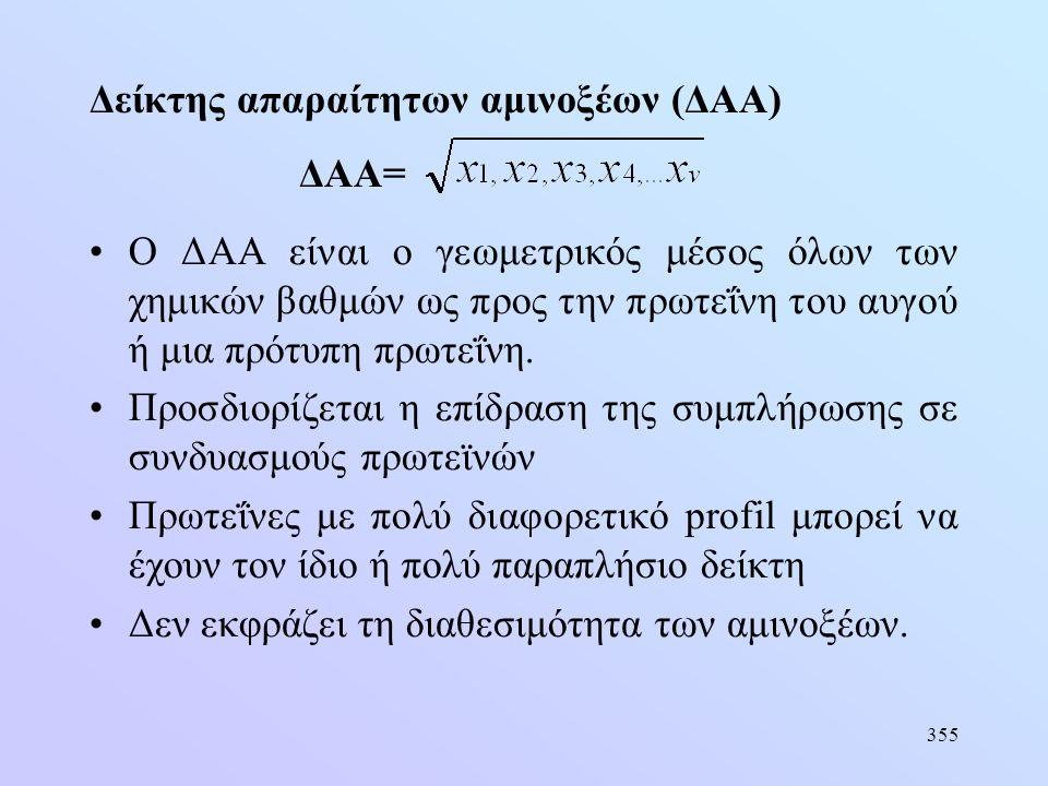 355 Δείκτης απαραίτητων αμινοξέων (ΔΑΑ) ΔΑΑ= •Ο ΔΑΑ είναι ο γεωμετρικός μέσος όλων των χημικών βαθμών ως προς την πρωτεΐνη του αυγού ή μια πρότυπη πρω