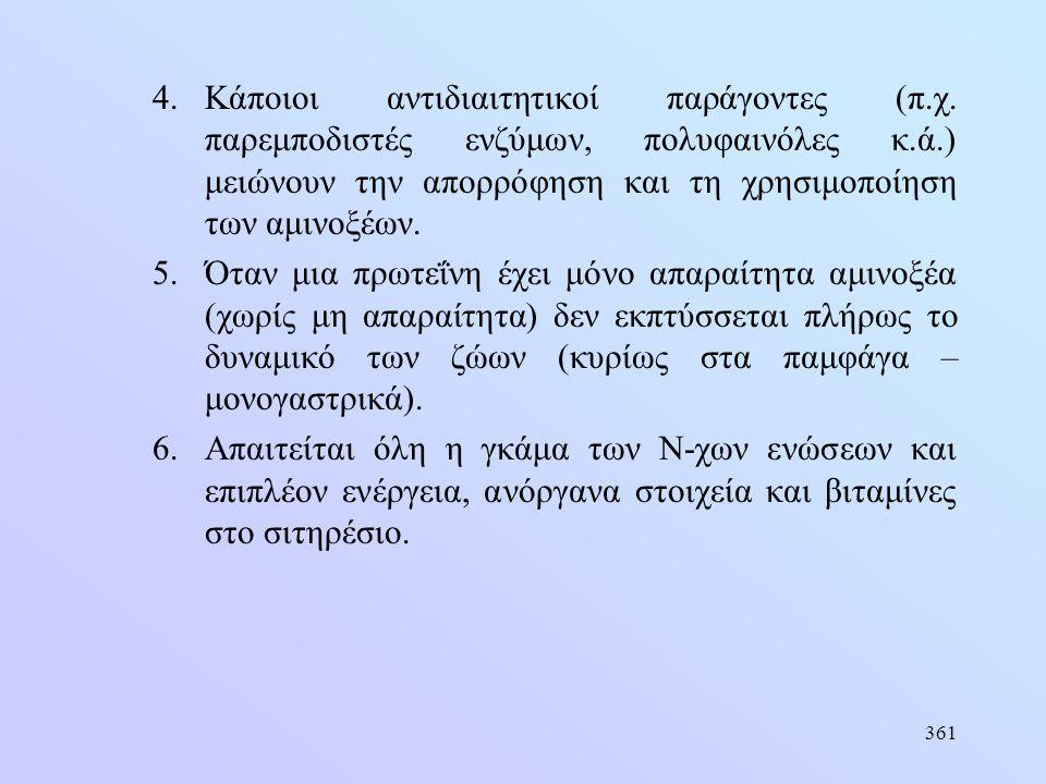 361 4.Κάποιοι αντιδιαιτητικοί παράγοντες (π.χ. παρεμποδιστές ενζύμων, πολυφαινόλες κ.ά.) μειώνουν την απορρόφηση και τη χρησιμοποίηση των αμινοξέων. 5