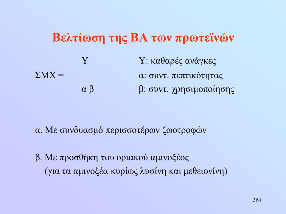 364 Βελτίωση της ΒΑ των πρωτεϊνών ΥΥ: καθαρές ανάγκες ΣΜΧ =α: συντ. πεπτικότητας α ββ: συντ. χρησιμοποίησης α. Με συνδυασμό περισσοτέρων ζωοτροφών β.