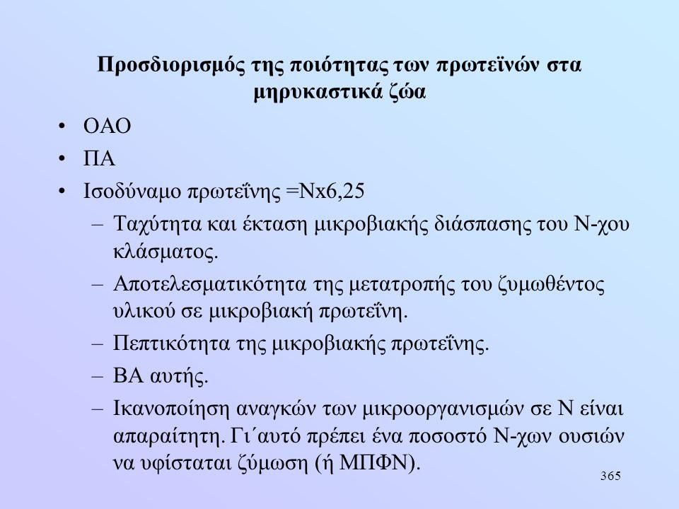 365 Προσδιορισμός της ποιότητας των πρωτεϊνών στα μηρυκαστικά ζώα •ΟΑΟ •ΠΑ •Ισοδύναμο πρωτεΐνης =Νx6,25 –Ταχύτητα και έκταση μικροβιακής διάσπασης του