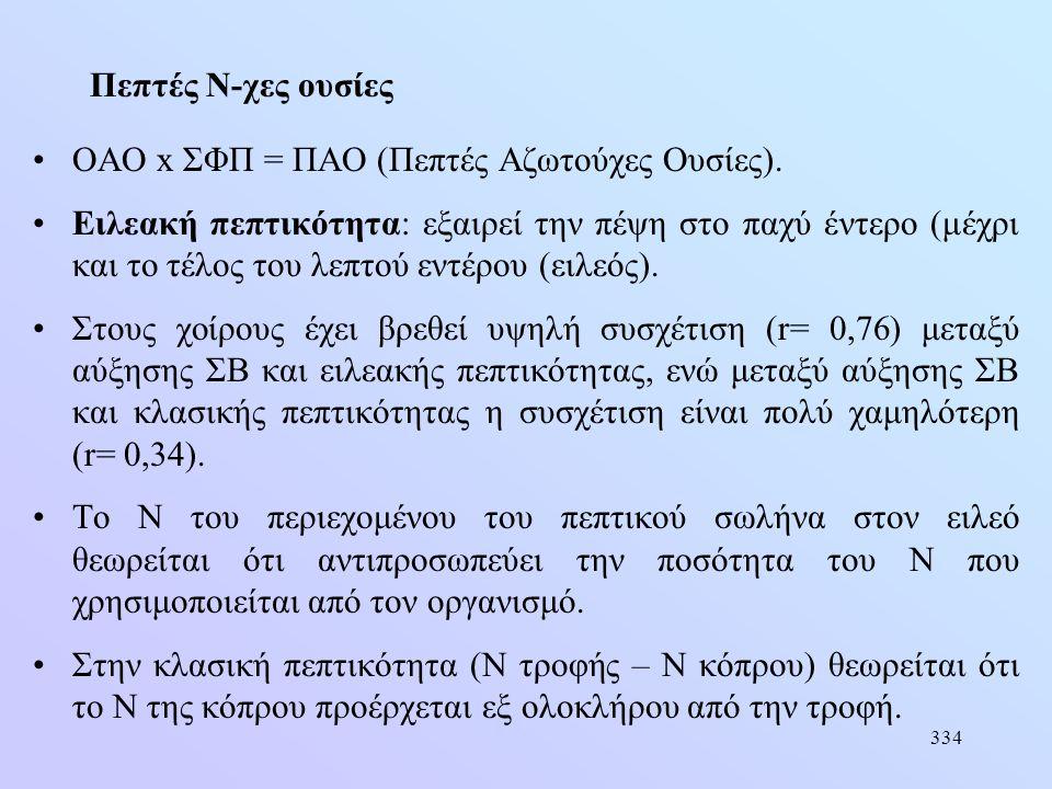 334 Πεπτές Ν-χες ουσίες •ΟΑΟ x ΣΦΠ = ΠΑΟ (Πεπτές Αζωτούχες Ουσίες). •Ειλεακή πεπτικότητα: εξαιρεί την πέψη στο παχύ έντερο (μέχρι και το τέλος του λεπ
