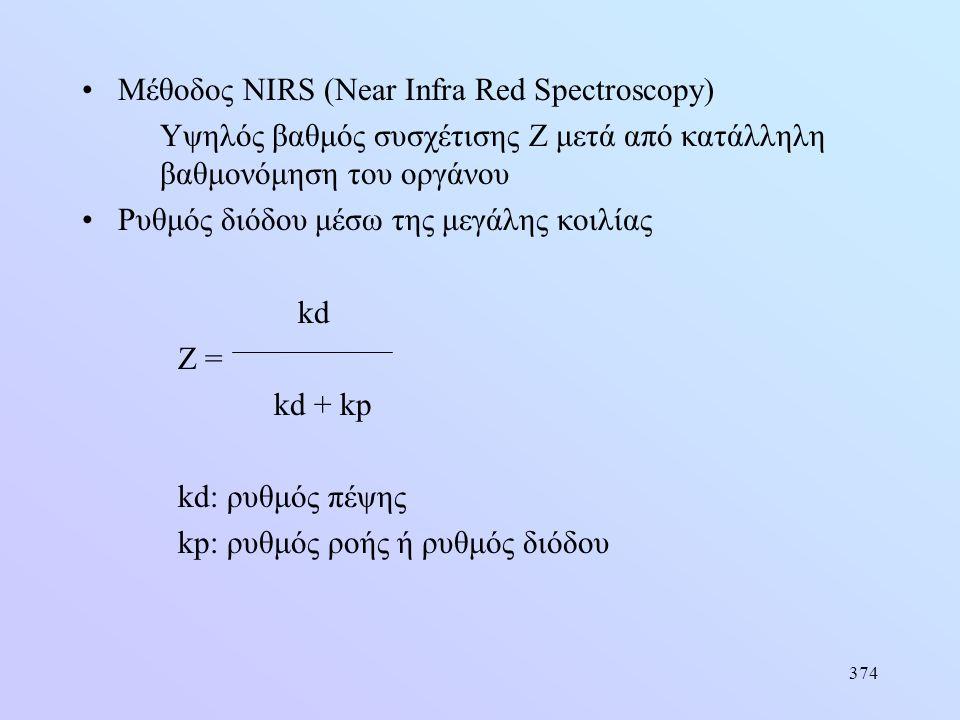 374 •Μέθοδος NIRS (Near Infra Red Spectroscopy) Υψηλός βαθμός συσχέτισης Ζ μετά από κατάλληλη βαθμονόμηση του οργάνου •Ρυθμός διόδου μέσω της μεγάλης