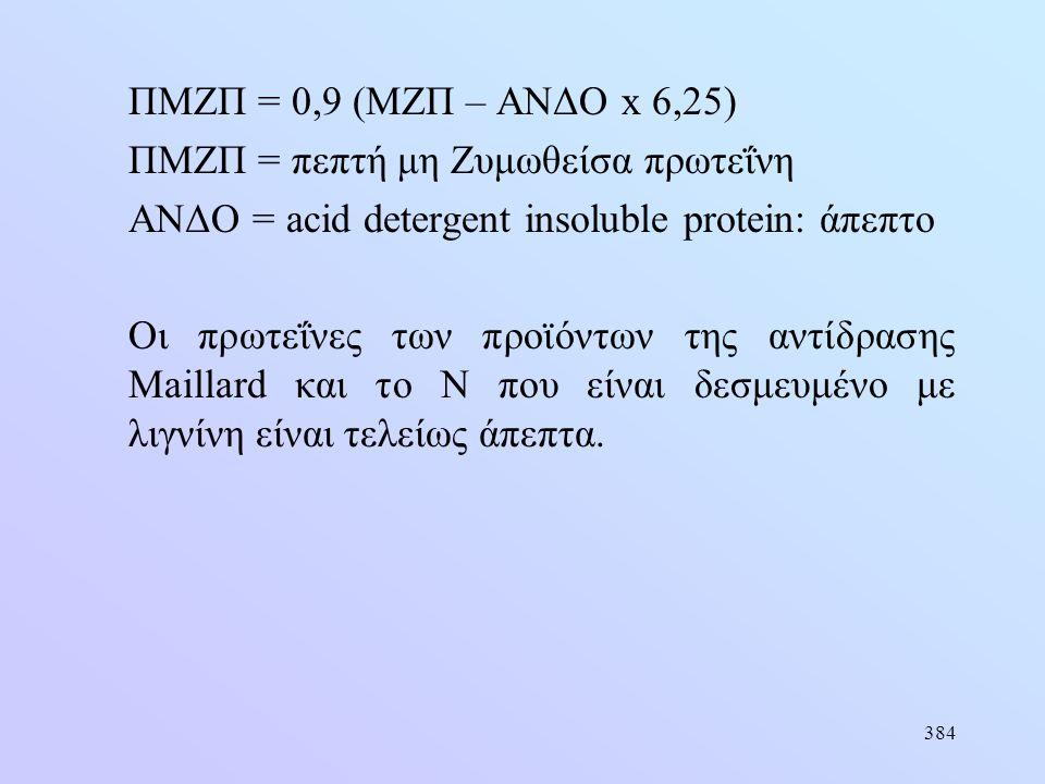 384 ΠMZΠ = 0,9 (MZΠ – ΑΝΔΟ x 6,25) ΠΜΖΠ = πεπτή μη Ζυμωθείσα πρωτεΐνη ΑΝΔΟ = acid detergent insoluble protein: άπεπτο Οι πρωτεΐνες των προϊόντων της α