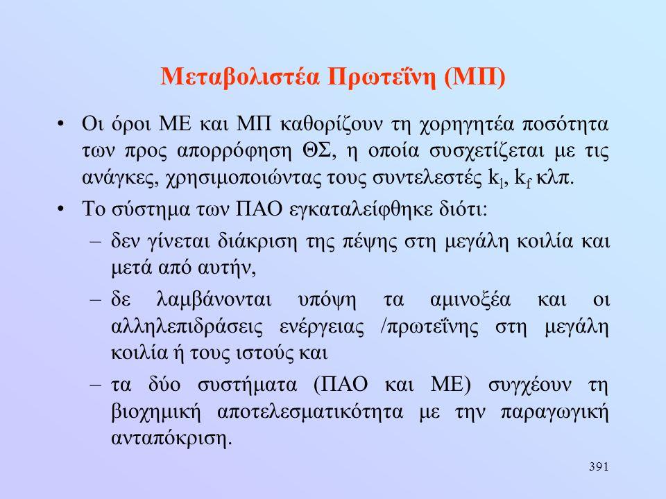 391 Μεταβολιστέα Πρωτεΐνη (ΜΠ) •Οι όροι ΜΕ και ΜΠ καθορίζουν τη χορηγητέα ποσότητα των προς απορρόφηση ΘΣ, η οποία συσχετίζεται με τις ανάγκες, χρησιμ
