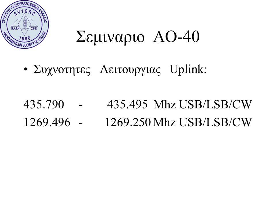 Σεμιναριο ΑΟ-40 •Συχνοτητες Λειτουργιας Uplink: 435.790 - 435.495 Mhz USB/LSB/CW 1269.496 - 1269.250 Mhz USB/LSB/CW