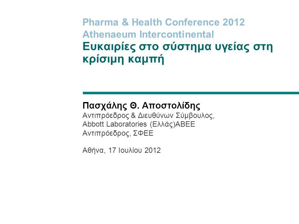 Pharma & Health Conference 2012 Athenaeum Intercontinental Ευκαιρίες στο σύστημα υγείας στη κρίσιμη καμπή Πασχάλης Θ. Αποστολίδης Αντιπρόεδρος & Διευθ