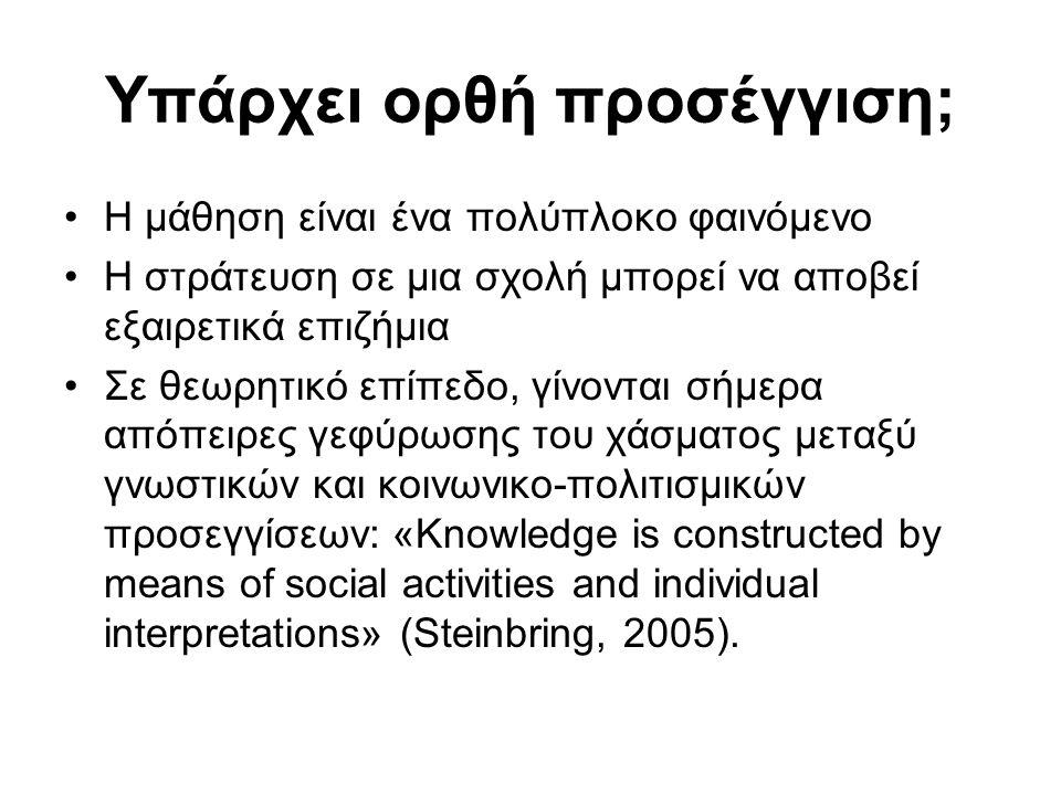 Υπάρχει ορθή προσέγγιση; •Η μάθηση είναι ένα πολύπλοκο φαινόμενο •Η στράτευση σε μια σχολή μπορεί να αποβεί εξαιρετικά επιζήμια •Σε θεωρητικό επίπεδο, γίνονται σήμερα απόπειρες γεφύρωσης του χάσματος μεταξύ γνωστικών και κοινωνικο-πολιτισμικών προσεγγίσεων: «Knowledge is constructed by means of social activities and individual interpretations» (Steinbring, 2005).