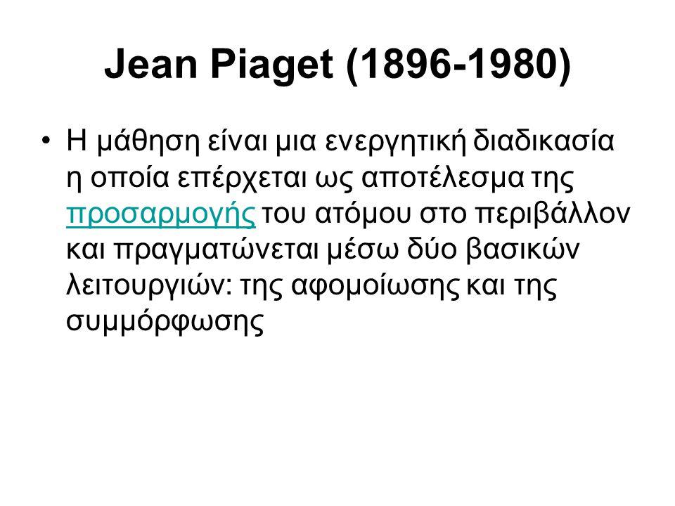 Jean Piaget (1896-1980) •H μάθηση είναι μια ενεργητική διαδικασία η οποία επέρχεται ως αποτέλεσμα της προσαρμογής του ατόμου στο περιβάλλον και πραγματώνεται μέσω δύο βασικών λειτουργιών: της αφομοίωσης και της συμμόρφωσης προσαρμογής