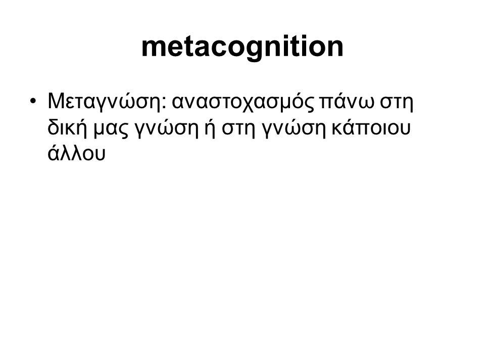 metacognition •Μεταγνώση: αναστοχασμός πάνω στη δική μας γνώση ή στη γνώση κάποιου άλλου