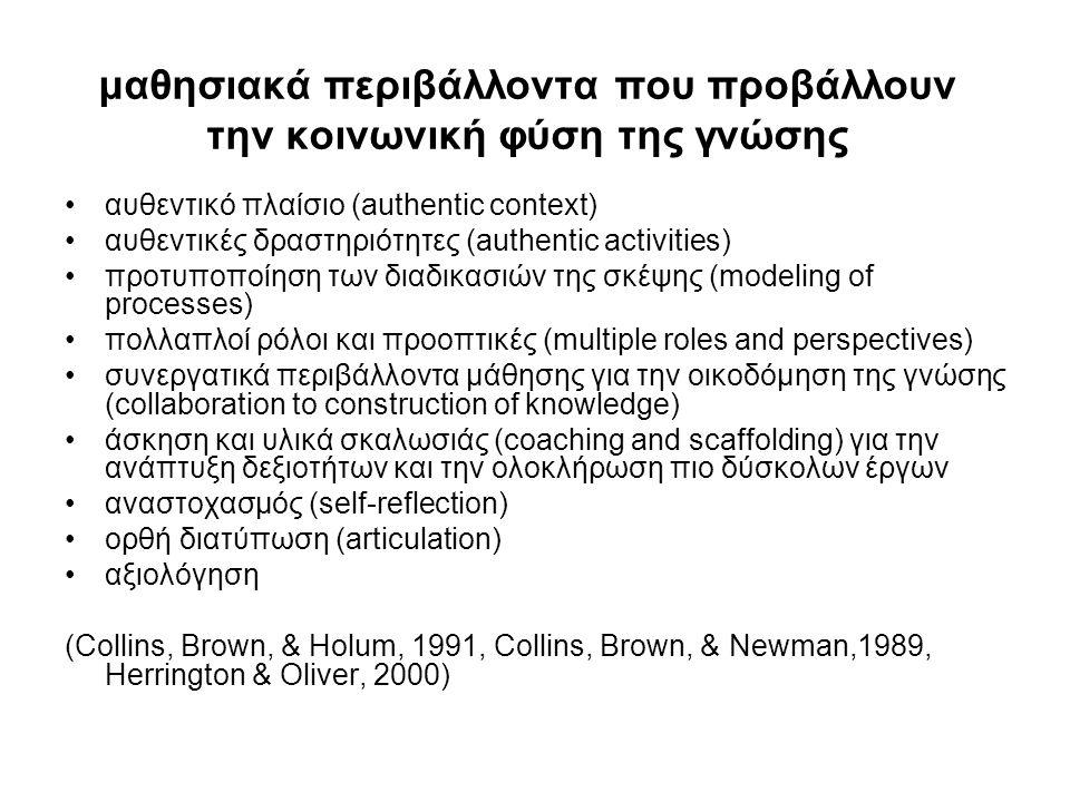 μαθησιακά περιβάλλοντα που προβάλλουν την κοινωνική φύση της γνώσης •αυθεντικό πλαίσιο (authentic context) •αυθεντικές δραστηριότητες (authentic activities) •προτυποποίηση των διαδικασιών της σκέψης (modeling of processes) •πολλαπλοί ρόλοι και προοπτικές (multiple roles and perspectives) •συνεργατικά περιβάλλοντα μάθησης για την οικοδόμηση της γνώσης (collaboration to construction of knowledge) •άσκηση και υλικά σκαλωσιάς (coaching and scaffolding) για την ανάπτυξη δεξιοτήτων και την ολοκλήρωση πιο δύσκολων έργων •αναστοχασμός (self-reflection) •ορθή διατύπωση (articulation) •αξιολόγηση (Collins, Brown, & Holum, 1991, Collins, Brown, & Newman,1989, Herrington & Οliver, 2000)