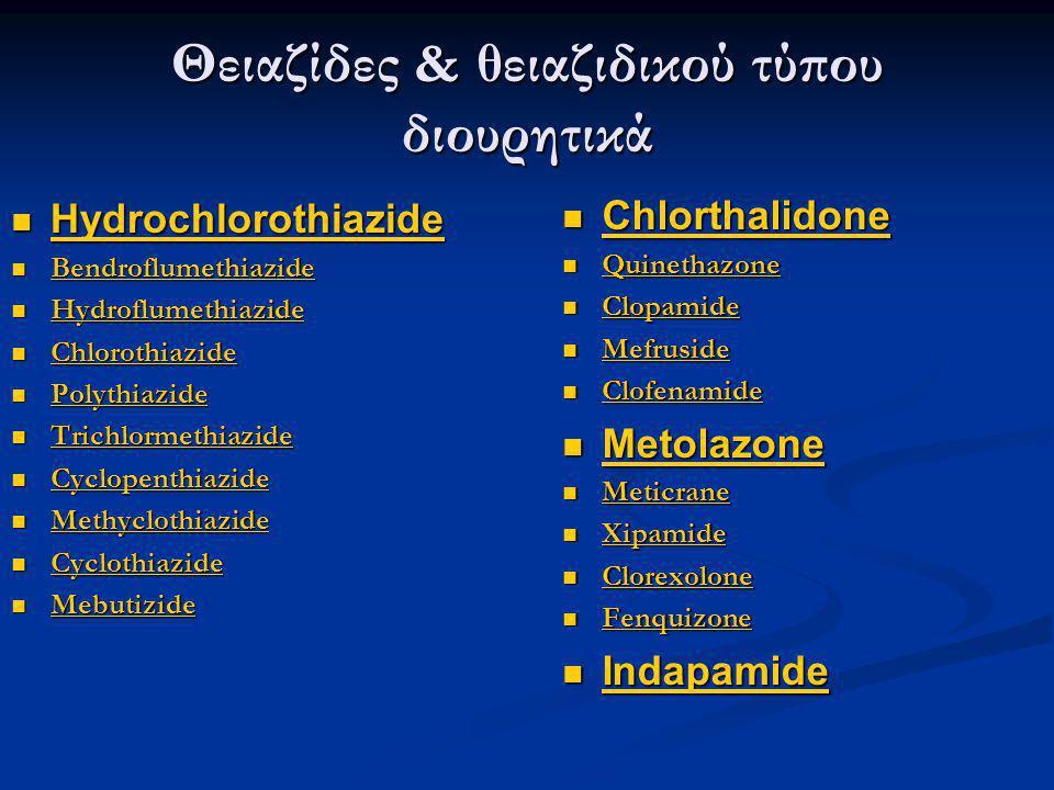 Θειαζίδες & θειαζιδικού τύπου διουρητικά  Hydrochlorothiazide Hydrochlorothiazide  Bendroflumethiazide Bendroflumethiazide  Hydroflumethiazide Hydr