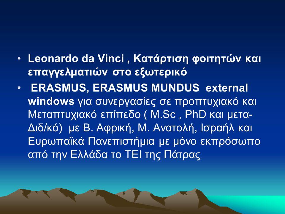 •Leonardo da Vinci, Κατάρτιση φοιτητών και επαγγελματιών στο εξωτερικό • ERASMUS, ERASMUS MUNDUS external windows για συνεργασίες σε προπτυχιακό και Μ