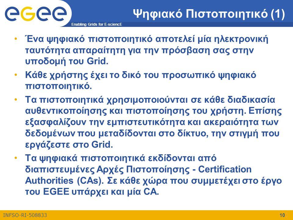 Enabling Grids for E-sciencE INFSO-RI-508833 10 Ψηφιακό Πιστοποιητικό (1) •Ένα ψηφιακό πιστοποιητικό αποτελεί μία ηλεκτρονική ταυτότητα απαραίτητη για