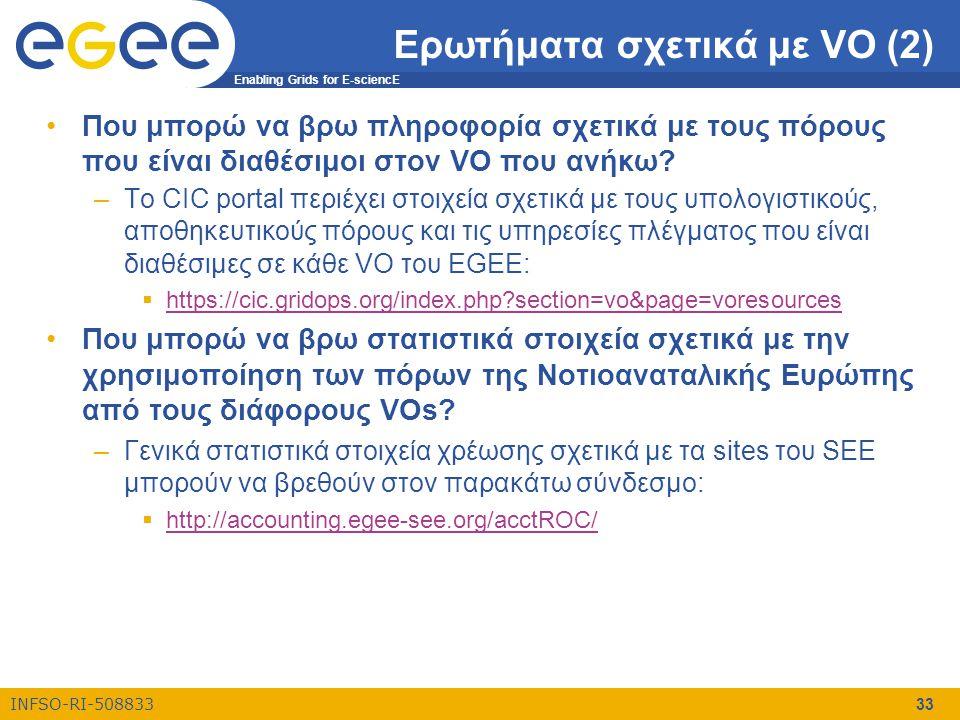 Enabling Grids for E-sciencE INFSO-RI-508833 33 Ερωτήματα σχετικά με VO (2) •Που μπορώ να βρω πληροφορία σχετικά με τους πόρους που είναι διαθέσιμοι σ