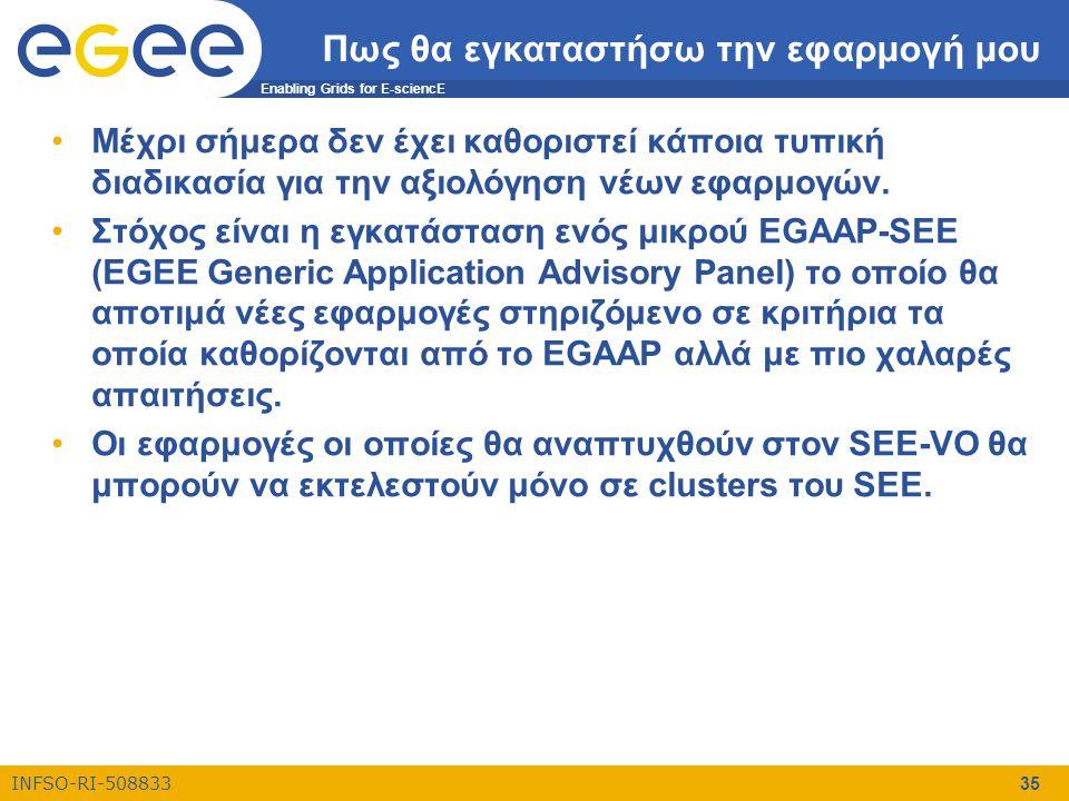Enabling Grids for E-sciencE INFSO-RI-508833 35 Πως θα εγκαταστήσω την εφαρμογή μου •Μέχρι σήμερα δεν έχει καθοριστεί κάποια τυπική διαδικασία για την
