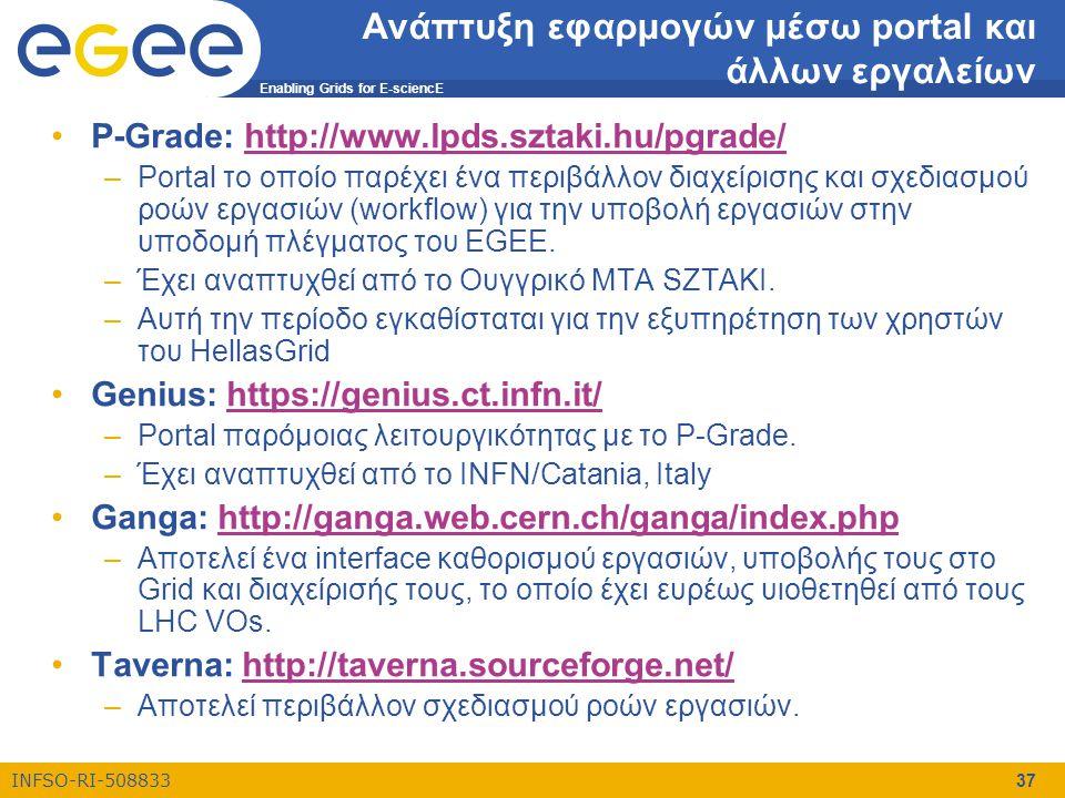 Enabling Grids for E-sciencE INFSO-RI-508833 37 Ανάπτυξη εφαρμογών μέσω portal και άλλων εργαλείων •P-Grade: http://www.lpds.sztaki.hu/pgrade/http://w
