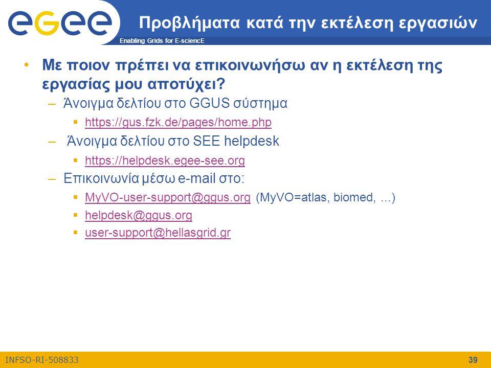 Enabling Grids for E-sciencE INFSO-RI-508833 39 Προβλήματα κατά την εκτέλεση εργασιών •Με ποιον πρέπει να επικοινωνήσω αν η εκτέλεση της εργασίας μου