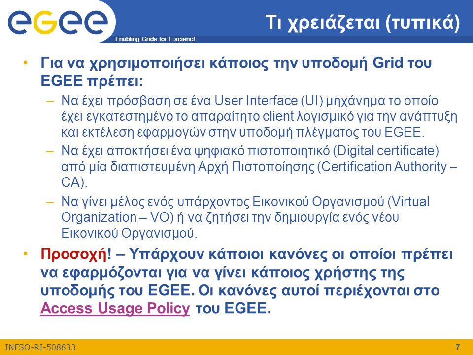 Enabling Grids for E-sciencE INFSO-RI-508833 7 Τι χρειάζεται (τυπικά) •Για να χρησιμοποιήσει κάποιος την υποδομή Grid του EGEE πρέπει: –Να έχει πρόσβα