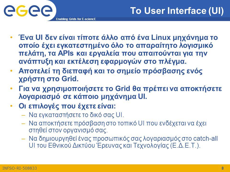 Enabling Grids for E-sciencE INFSO-RI-508833 8 Το User Interface (UI) •Ένα UI δεν είναι τίποτε άλλο από ένα Linux μηχάνημα το οποίο έχει εγκατεστημένο