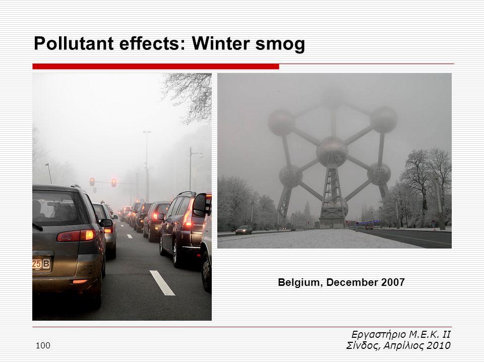 100 Εργαστήριο Μ.Ε.Κ. ΙΙ Σίνδος, Απρίλιος 2010 Belgium, December 2007 Pollutant effects: Winter smog