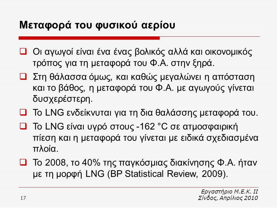 17 Μεταφορά του φυσικού αερίου Εργαστήριο Μ.Ε.Κ. ΙΙ Σίνδος, Απρίλιος 2010  Οι αγωγοί είναι ένα ένας βολικός αλλά και οικονομικός τρόπος για τη μεταφο