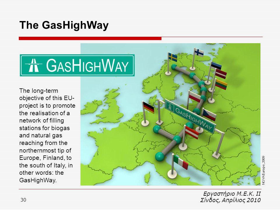 30 Εργαστήριο Μ.Ε.Κ. ΙΙ Σίνδος, Απρίλιος 2010 The GasHighWay NGVA Europe, 2009 The long-term objective of this EU- project is to promote the realisati