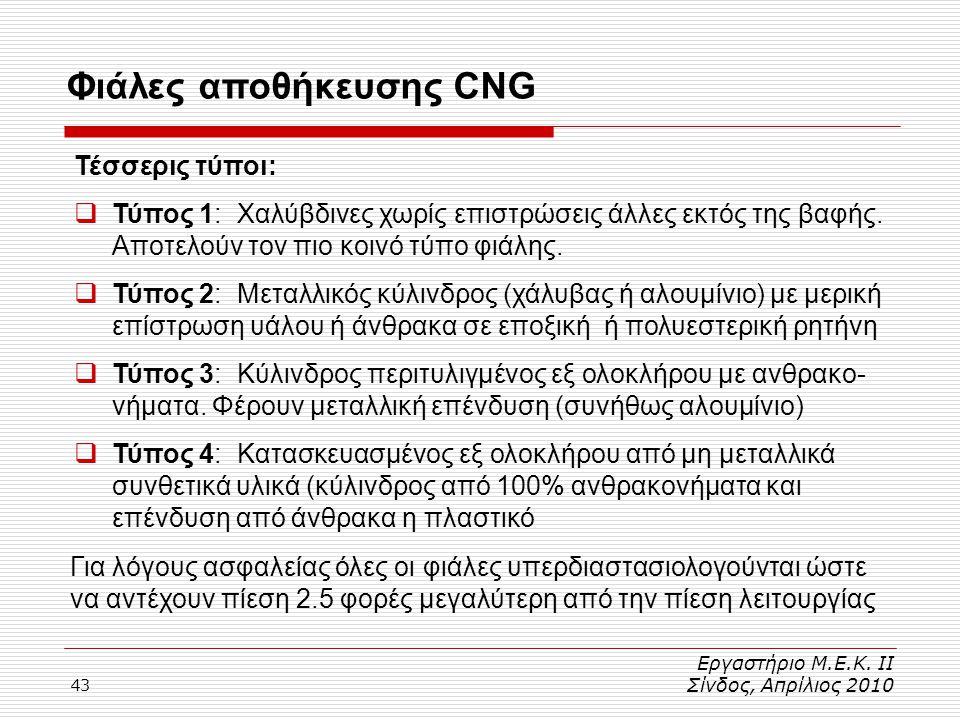 43 Φιάλες αποθήκευσης CNG Εργαστήριο Μ.Ε.Κ. ΙΙ Σίνδος, Απρίλιος 2010 Τέσσερις τύποι:  Τύπος 1: Χαλύβδινες χωρίς επιστρώσεις άλλες εκτός της βαφής. Απ